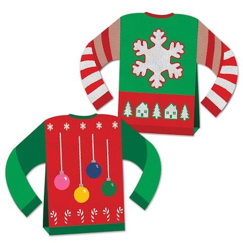 Beistle Christmas Party Decorative 3-D Ugly Sweater Centerpiece (1/Pkg) - 12 Pack