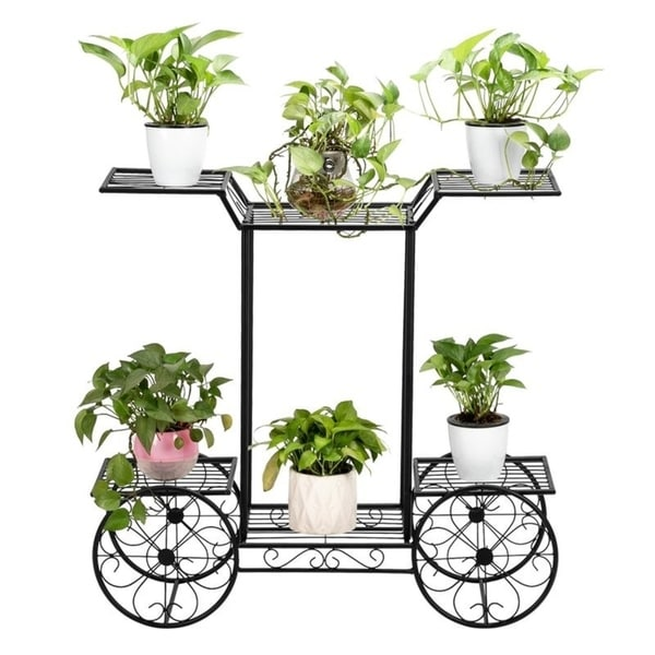 Zimtown Paint Iron Car Shape 6 Plant Stand Black. Opens flyout.