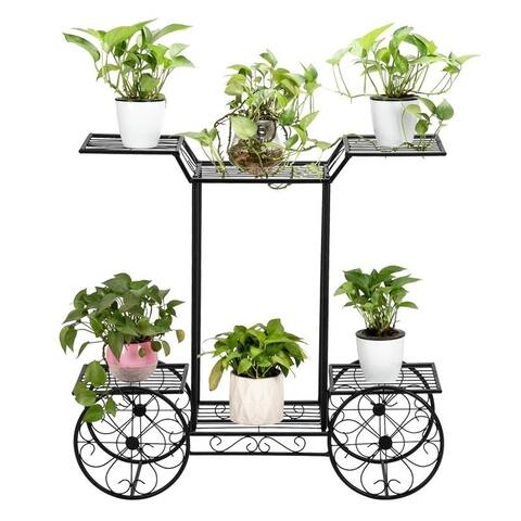 Zimtown Paint Iron Car Shape 6 Plant Stand Black