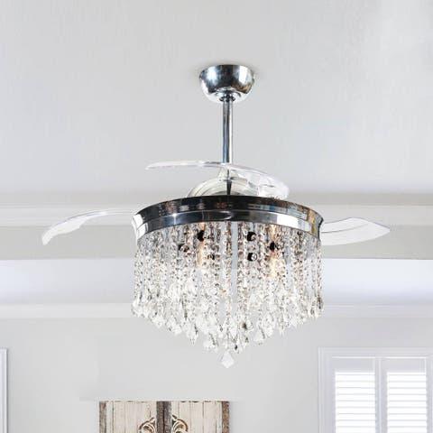 Silver Orchid Shearer 3-Blade 42-inch Ceiling Fan Chrome Crystal Chandelier