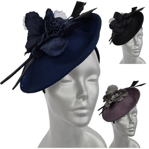 Wool felt Fascinator with flower/ feather combination Dress Church Hat
