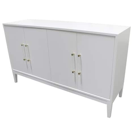 Best Master Furniture White Lacquer 4 Door Sideboard