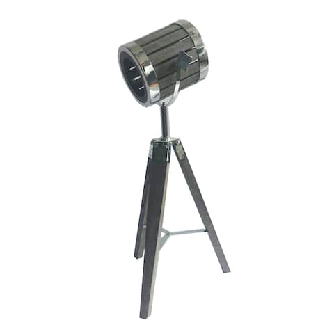 Wood Tripod Table Lamp with Chrome Metal Hardware