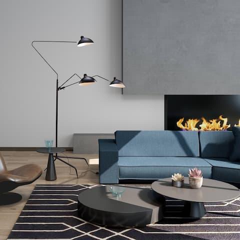 Black Three Arm Shade Floor Lamp With Brass Hardware