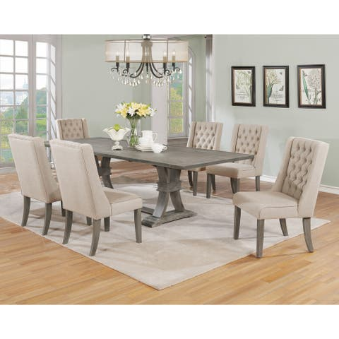 "Best Quality Furniture Rustic 7-Piece Dining Set with Button Tufted Back Chairs and Two 16"" Extension Leaf"