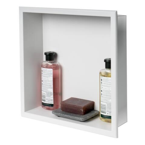 "ALFI brand 16"" x 16"" White Matte Stainless Steel Square Single Shelf Bath Shower Niche"