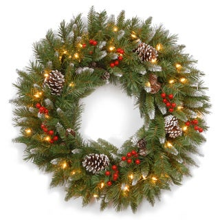 30-inch Frosted Berry Green Wreath with 100 Clear Lights-UL (As Is Item)