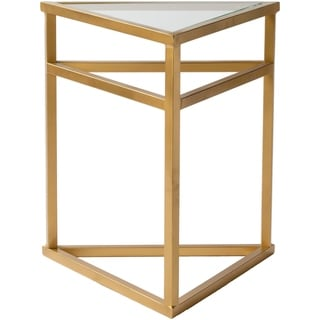 Cora Triangular Glass and Metal End Table - Gold