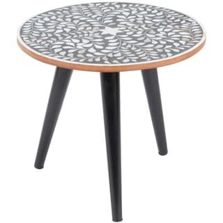 Dillon Boho Handcrafted Inlaid Mother of Pearl End Table - Black