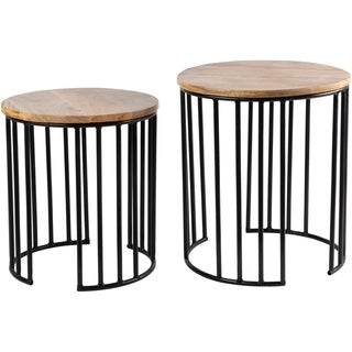 Overstock Reeva Iron Hand Crafted Nesting Table Set (2 Piece) - Black
