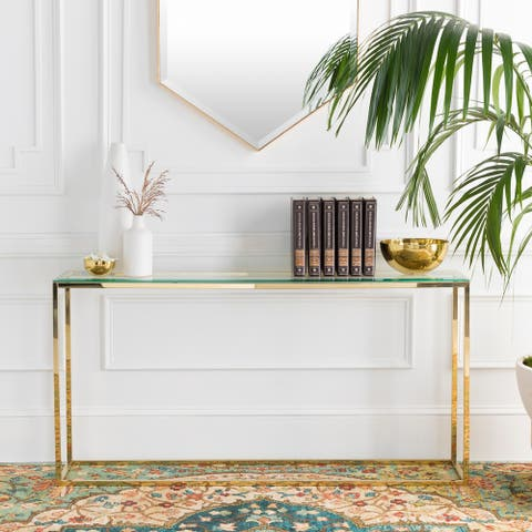 Eliana Glass and Metal Hand Crafted Console Table - Gold