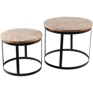 Overstock Ines Iron and Wood Round Nesting Table Set (2 Piece) - Black