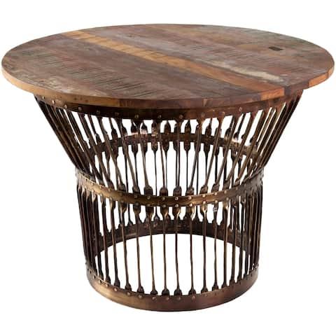 Alba Iron & Wood Drum Coffee Table - Brown