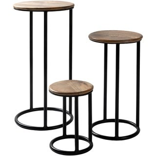 Carbon Loft  Auriemma Iron and Wood Handcrafted Nesting Plant Stands (Set of 3)