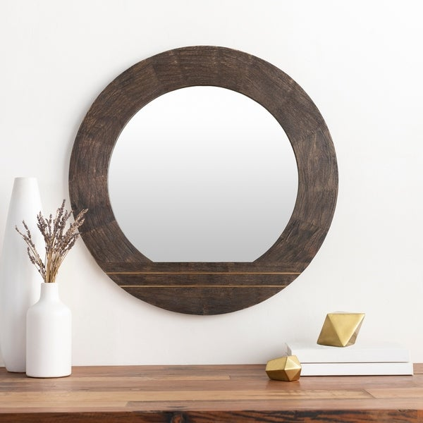 "Ayush Modern Wood 28-inch Round Wall Mirror - 28"" x 28"""