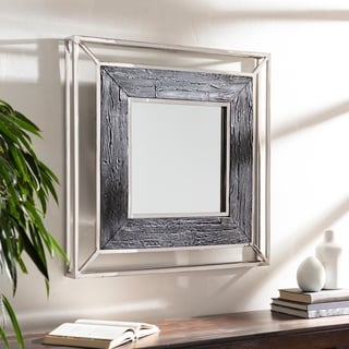 "Evelyne Mid-Century Stainless Steel 32-inch Square Wall Mirror - 32"" x 32"""