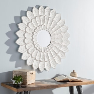 "Sumati Whitewashed Sunflower 36-inch Wall Mirror - 36"" x 36"""
