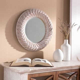 "Sulini Farmhouse 18-inch Round White Washed Accent Mirror - 18"" x 18"""