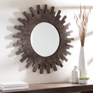 "Sol Mango Wood 36-inch Distressed Sunburst Wall Mirror - 36"" x 36"""