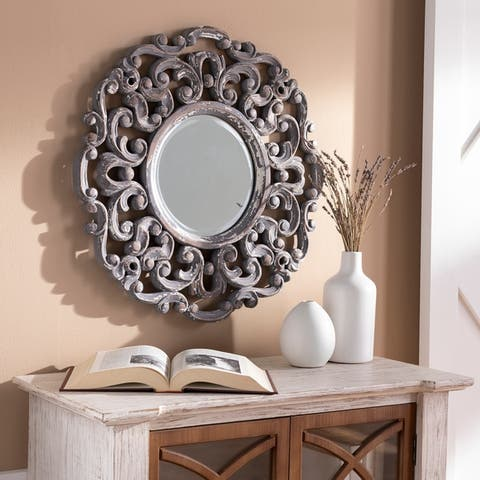 "Sera 24-inch Round White Washed Scroll Mirror - 24"" x 24"""