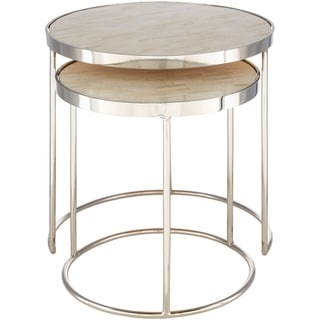 Overstock Lemos Handcrafted Bone and Metal Nesting Table Set (2 Piece) (Silver)