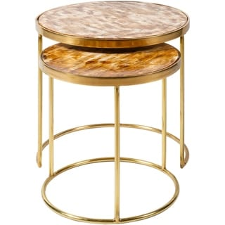 Overstock Lemos Handcrafted Bone and Metal Nesting Table Set (2 Piece) (Gold)
