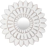 "Sumati Whitewashed Sunflower 15-inch Accent Mirror - 15"" x 15"""