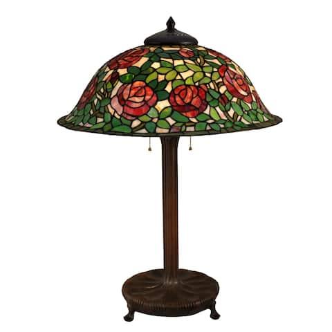 Rose Bush Tiffany Bronze Table Lamp