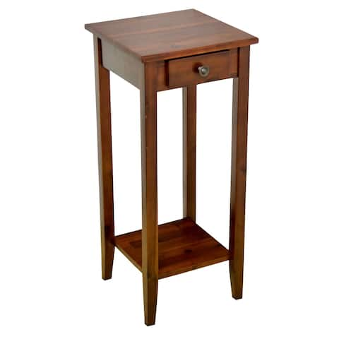 Solid Acacia Plant Table with Drawer