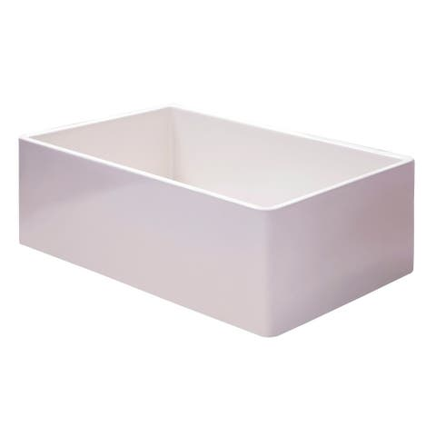 "ALFI brand AB536-W White 36"" Smooth Apron Single Bowl Fireclay Farm Sink"