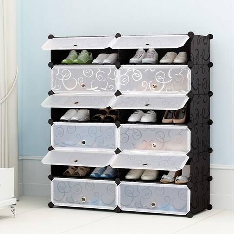 12-Cube Shoe Organizer Plastic Cabinet 6 Tier Modular closet cabinet