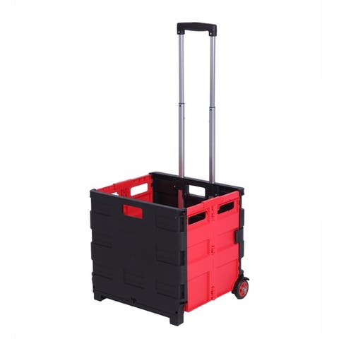 Rolling Utility Cart, Folding cart red mixed black basket without Lid