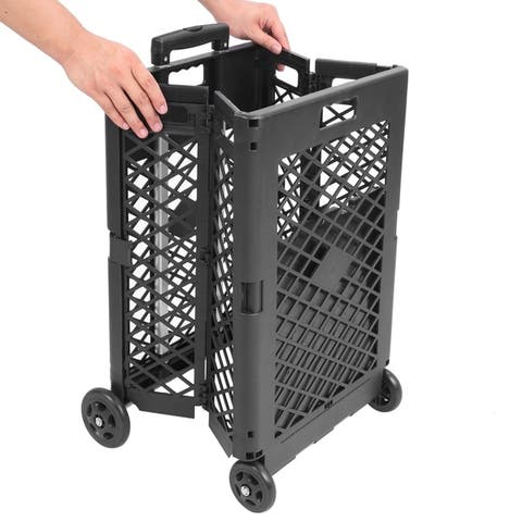 Mesh Rolling Utility Cart Folding and Collapsible Hand Crate on Wheel