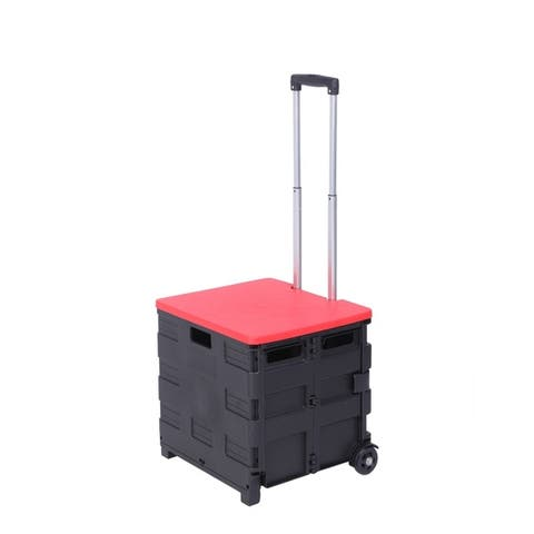 2 Wheels Rolling Utility Cart,Utility Folding Crate cart with Red Lid