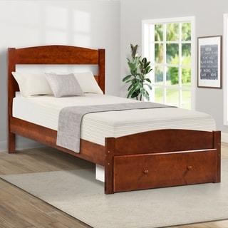 Wood Platform Twin Bed Frame with Storage Drawer