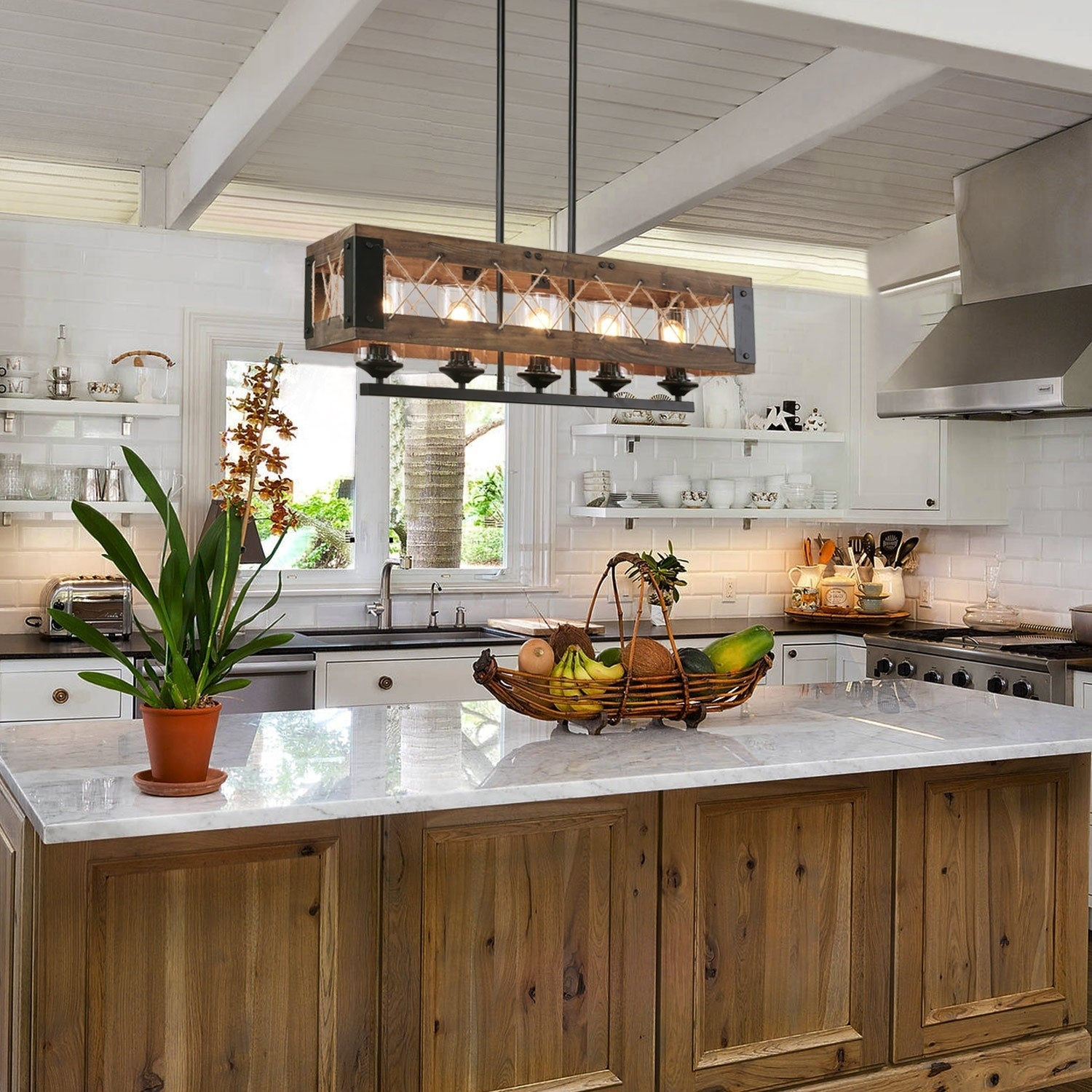 Farmhouse Wood Chandelier Rust Kitchen Island Lighting for Dining Room -  W31.9\