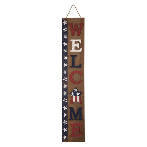 """Glitzhome 42""""H Wood """"WELCOME"""" Stars Hanging Porch Sign"""
