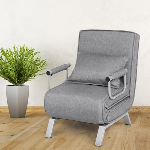 5-Position Adjustable Folding Sofa Chair Full Padded Lounger Recline