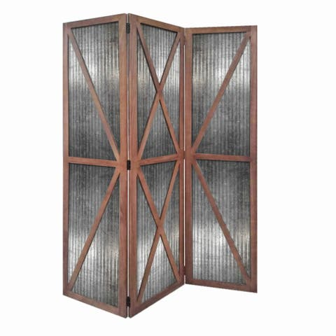 Industrial Corrugated 3 Panel Metal Room Divider, Brown and Silver