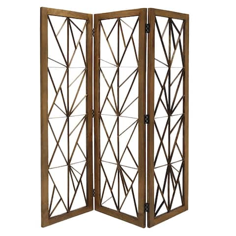 Wooden Handcrafted 3 Panel Room Divider with Intricate Iron Design, Brown