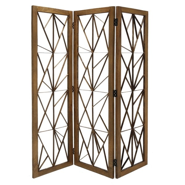 Wooden Handcrafted 3 Panel Room Divider with Intricate Iron Design, Brown. Opens flyout.
