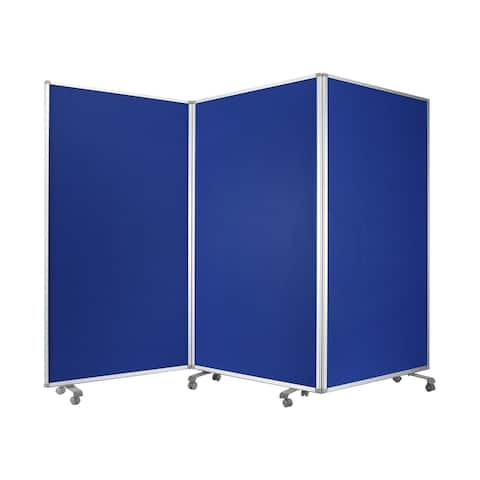 Accordion Style Fabric Upholstered 3 Panel Room Divider, Blue and Gray