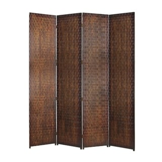 4 Panel Foldable Room Divider with Patterned Wood Panelling, Brown