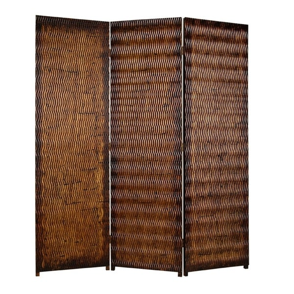 Dual Tone 3 Panel Wooden Foldable Room Divider with Wavy Design, Brown
