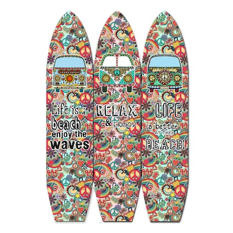 Beach Themed Surfboard Shaped 3 Panel Room Divider, Multicolor