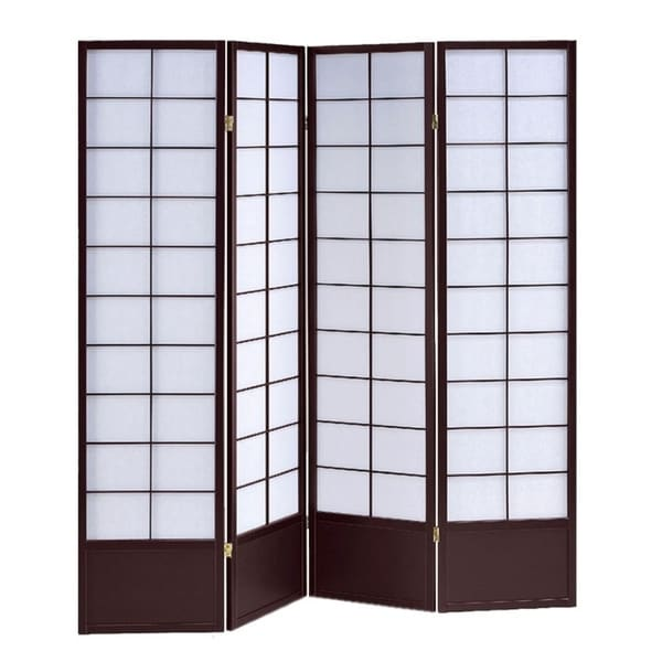 4 Panel Wooden Room Divider with Shoji Paper Inserts, White and Dark Brown