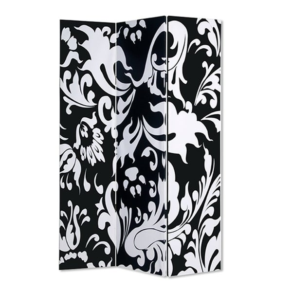 3 Panel Foldable Room Divider with Filigree Design, Black and White