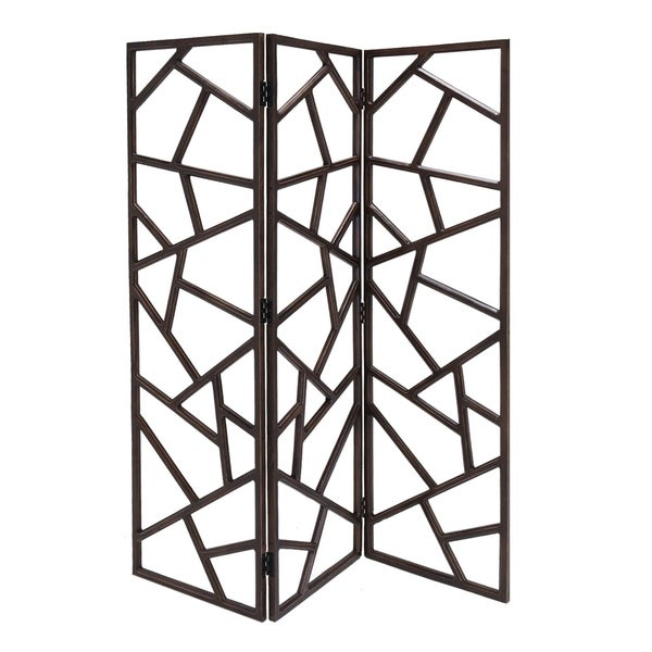 Wooden 3 Panel Room Divider with Intricate Design, Espresso Brown