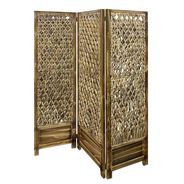 Woven Seagrass 3 Panel Wooden Room Divider, Natural Brown