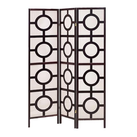 Circular Motif Wooden 3 Panel Room Divider with Jute Inlays, White and Brown